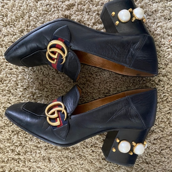 Gucci Shoes   Gucci Pearl Heel Leather